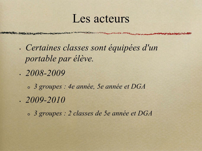 Les acteurs Certaines classes sont équipées d un portable par élève.