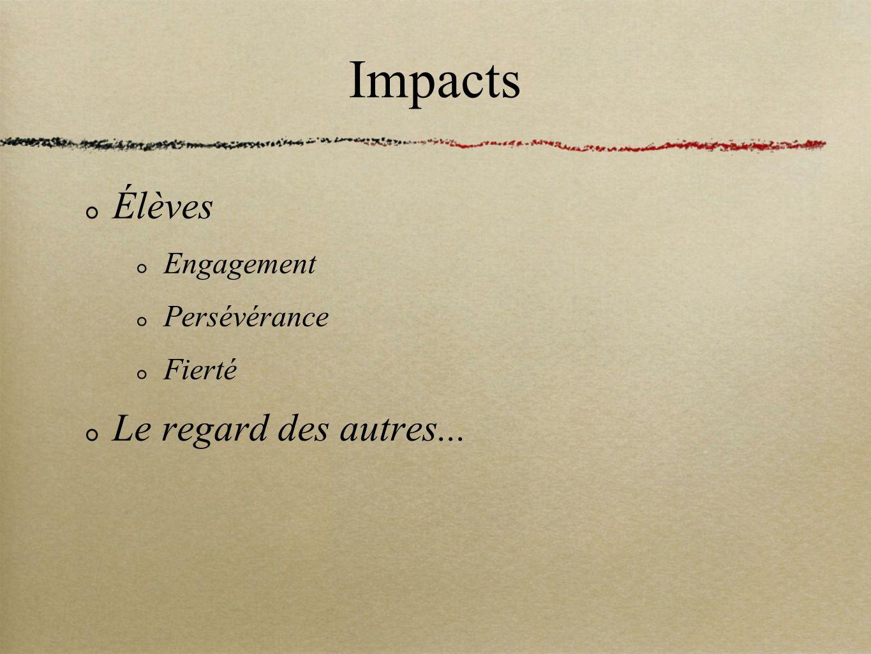 Impacts Élèves Le regard des autres... Engagement Persévérance Fierté