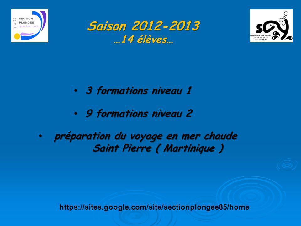 Saison 2012-2013 …14 élèves… 3 formations niveau 1