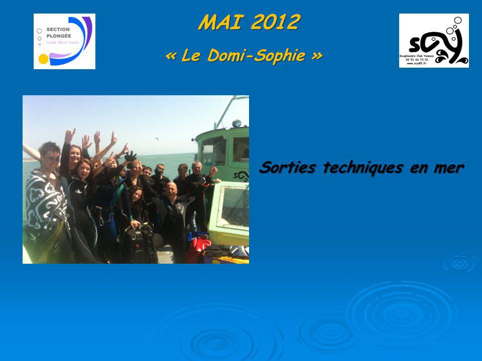 MAI 2012 « Le Domi-Sophie » Sorties techniques en mer