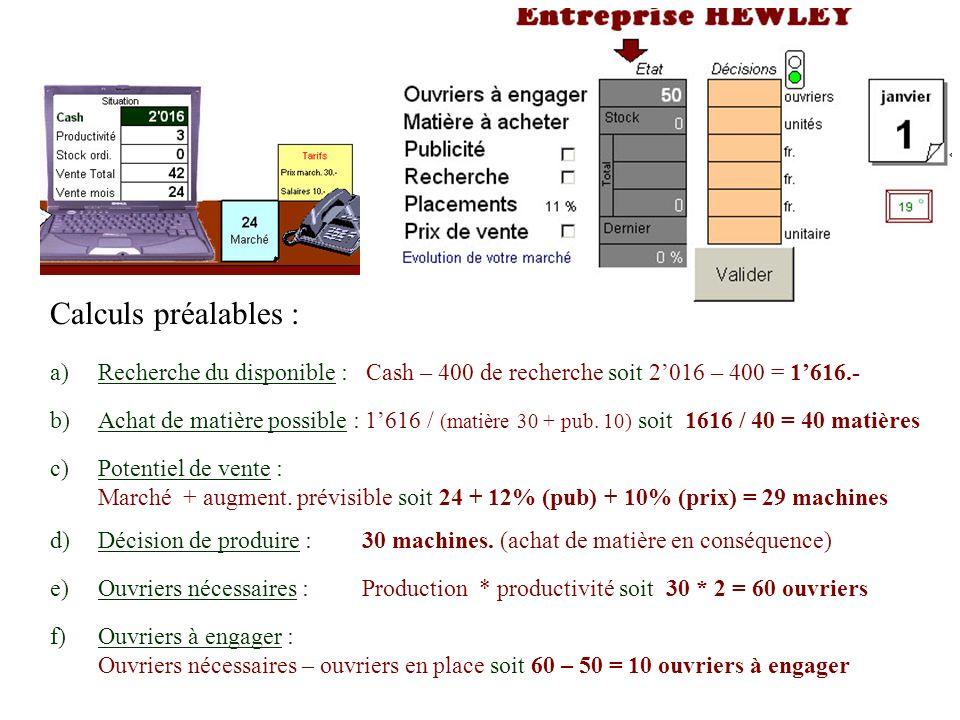 Calculs préalables : Recherche du disponible : Cash – 400 de recherche soit 2'016 – 400 = 1'616.-