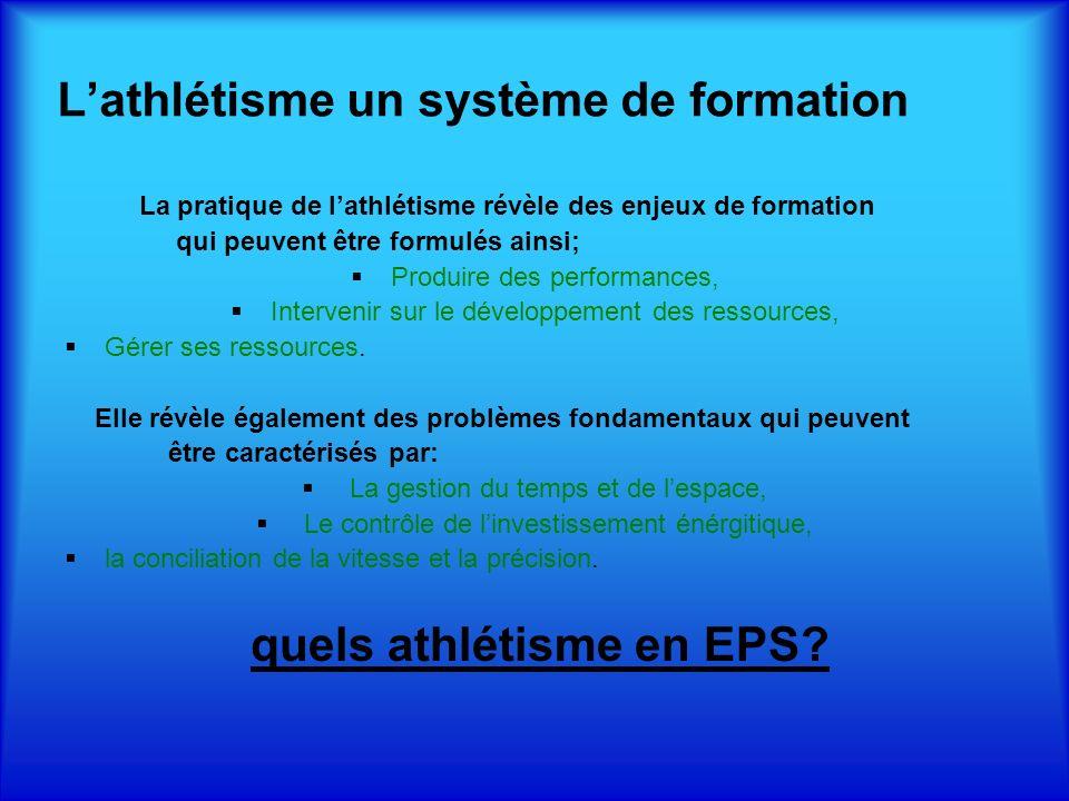 L'athlétisme un système de formation