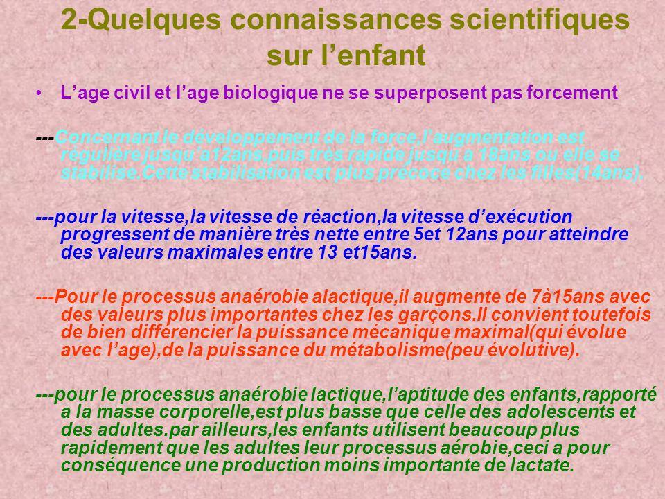 2-Quelques connaissances scientifiques sur l'enfant