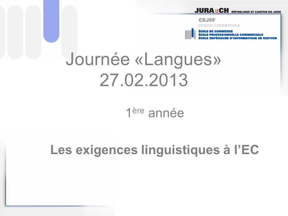1ère année Les exigences linguistiques à l'EC