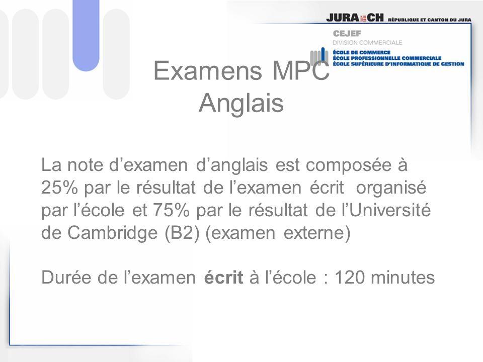 Examens MPC Anglais