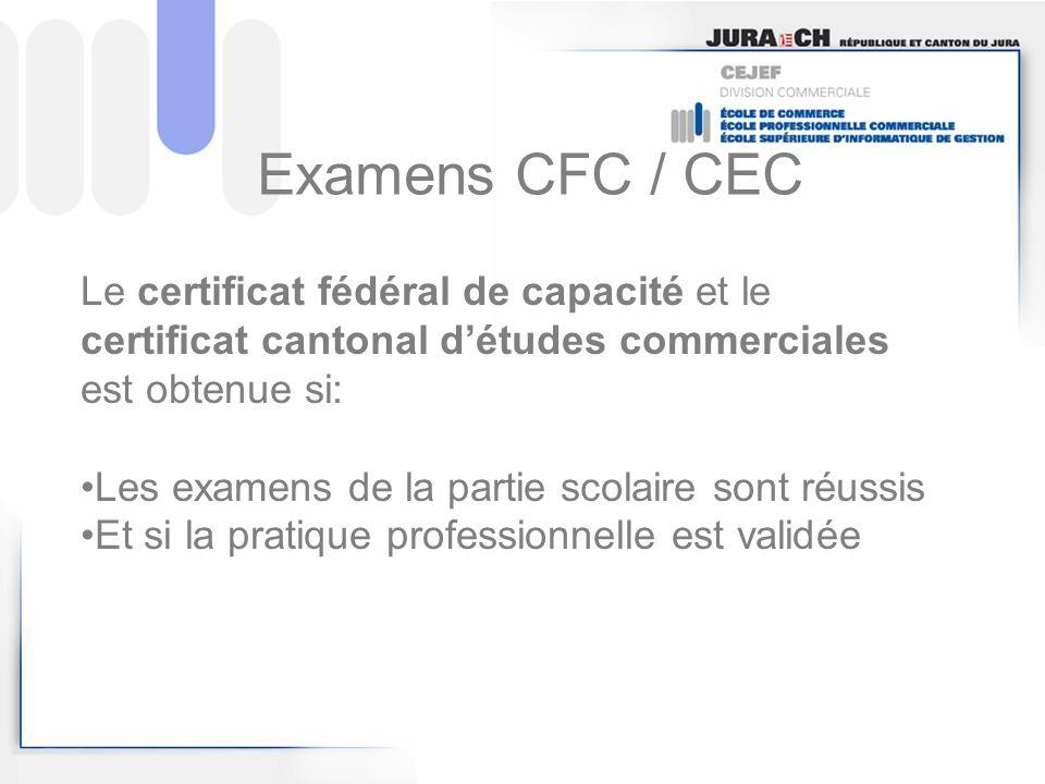 Examens CFC / CEC Le certificat fédéral de capacité et le certificat cantonal d'études commerciales est obtenue si: