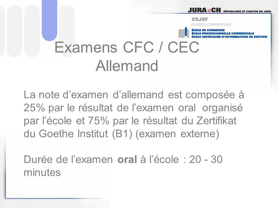 Examens CFC / CEC Allemand