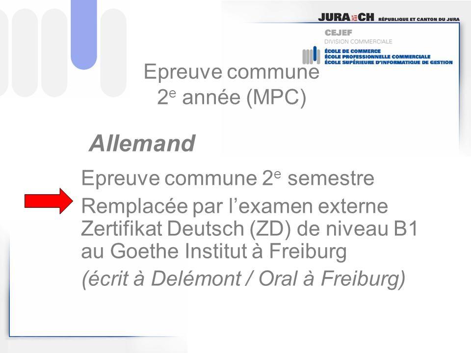 Epreuve commune 2e année (MPC)