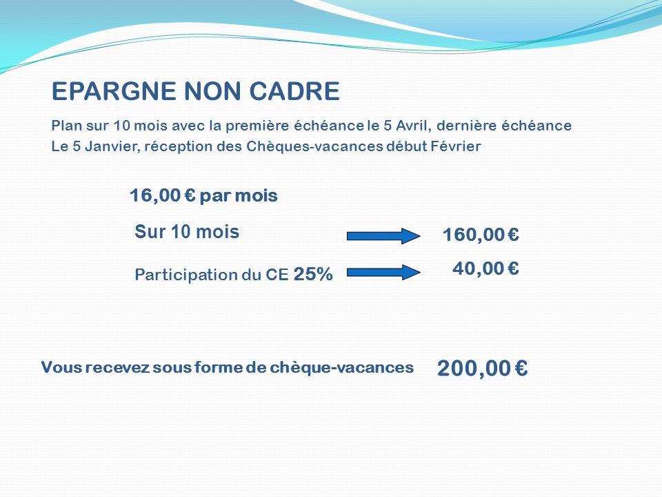 EPARGNE NON CADRE 200,00 € 16,00 € par mois Sur 10 mois 160,00 €