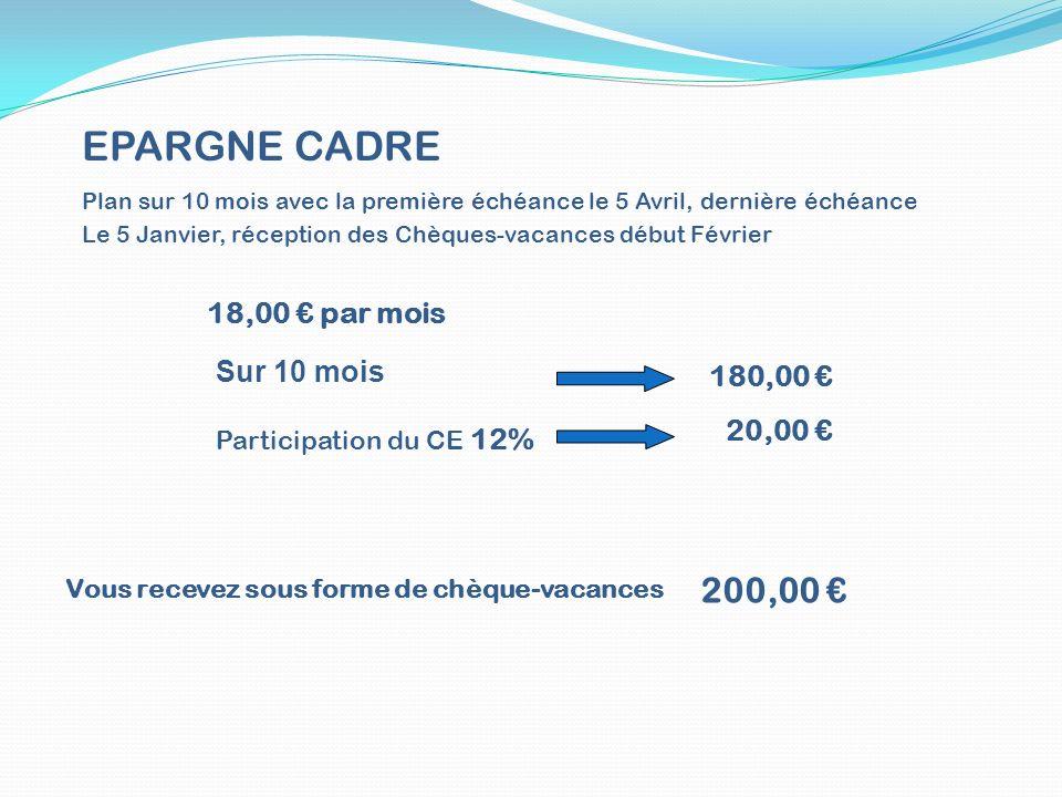 EPARGNE CADRE 200,00 € 18,00 € par mois Sur 10 mois 180,00 € 20,00 €