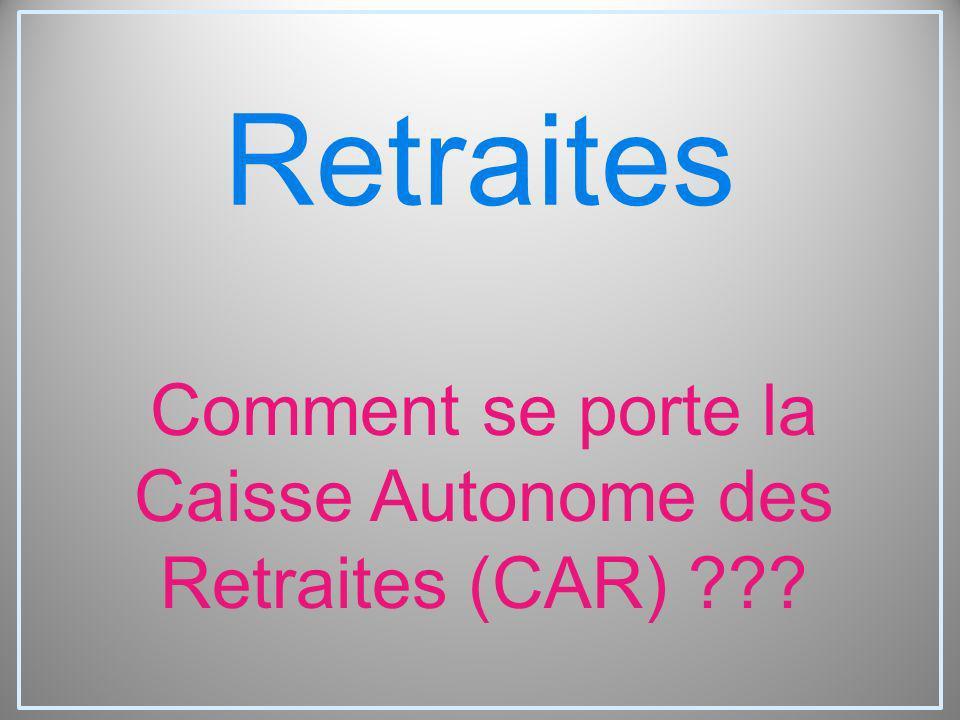Comment se porte la Caisse Autonome des Retraites (CAR)