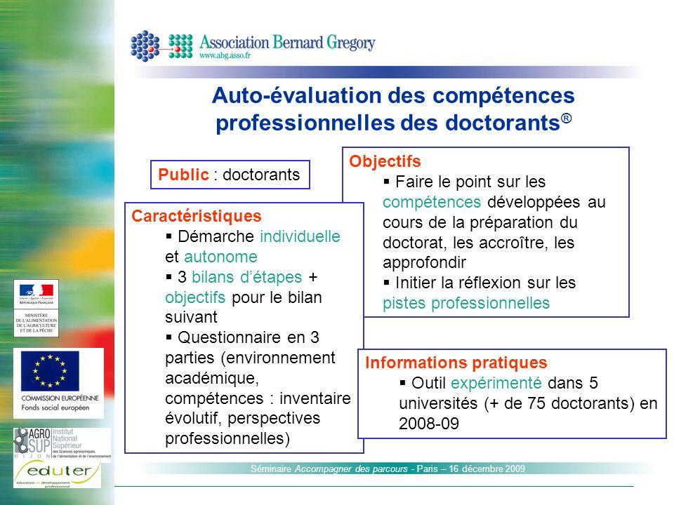 Auto-évaluation des compétences professionnelles des doctorants®