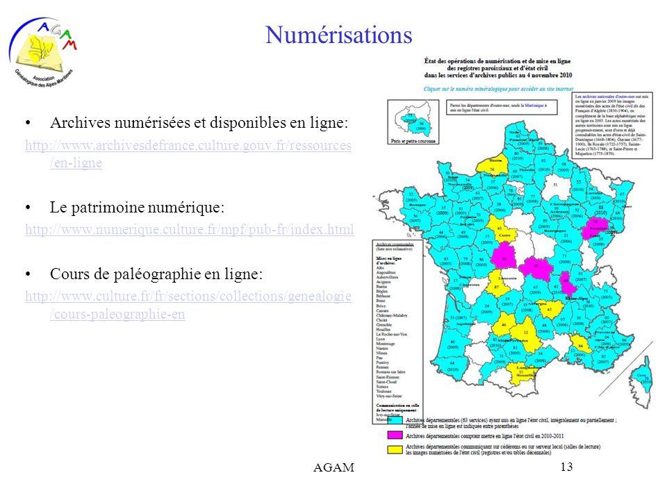 Numérisations Archives numérisées et disponibles en ligne: