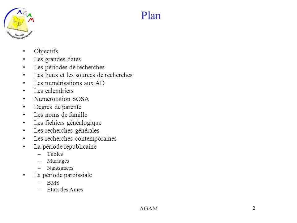 Plan Objectifs Les grandes dates Les périodes de recherches
