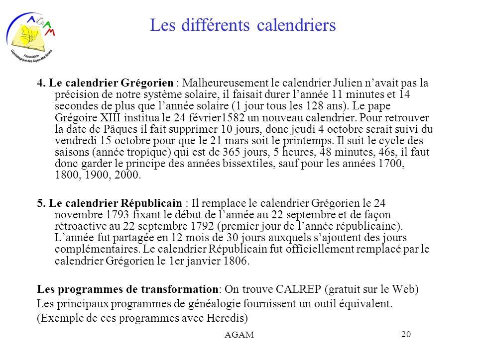 Les différents calendriers