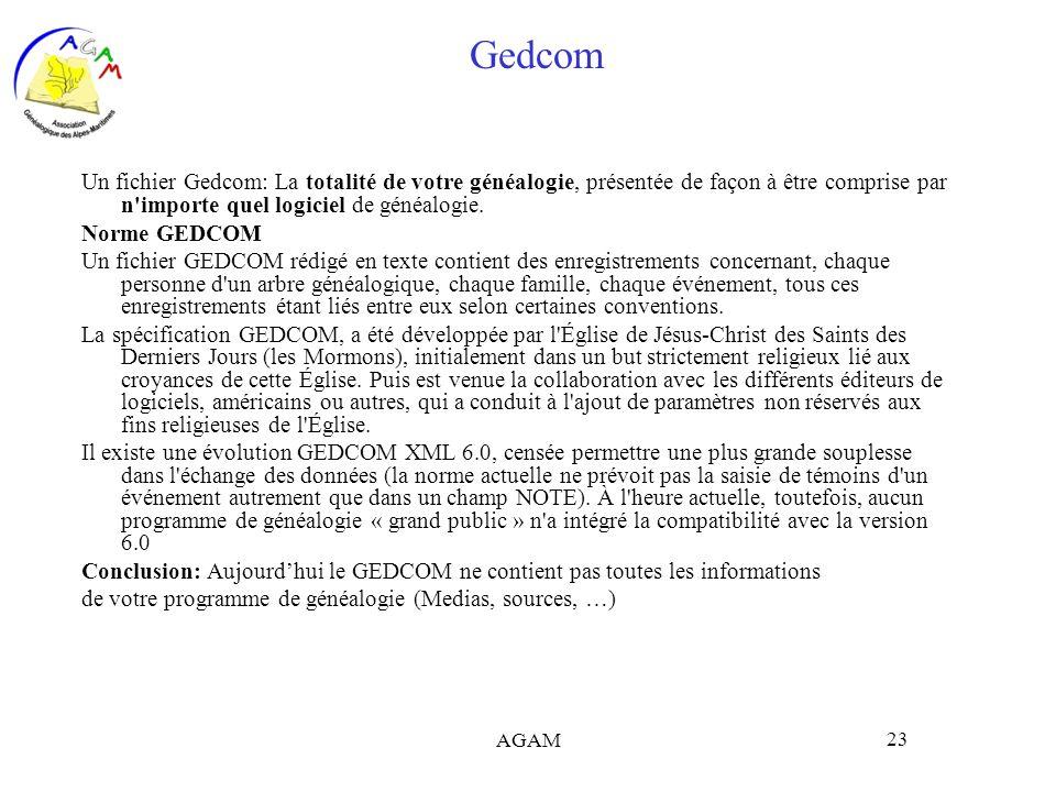 Gedcom Un fichier Gedcom: La totalité de votre généalogie, présentée de façon à être comprise par n importe quel logiciel de généalogie.