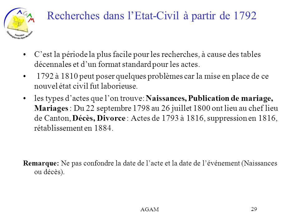 Recherches dans l'Etat-Civil à partir de 1792