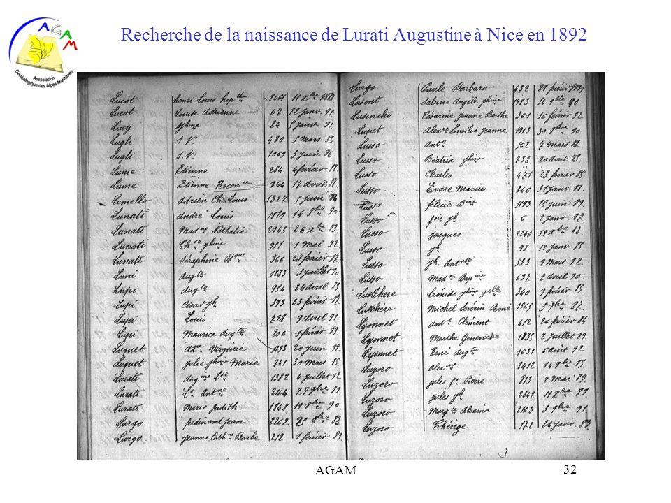 Recherche de la naissance de Lurati Augustine à Nice en 1892