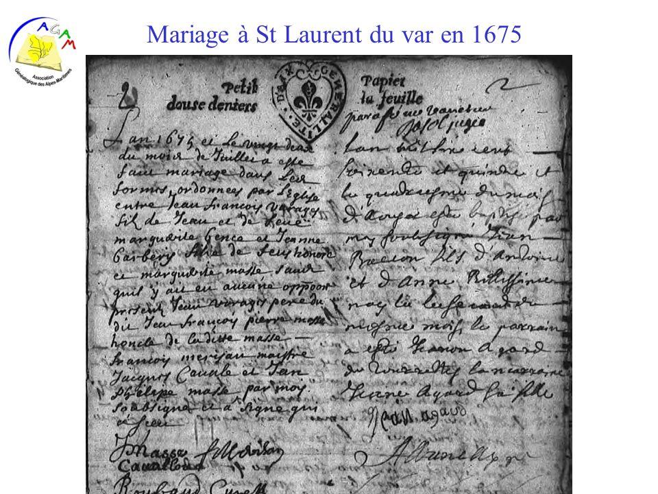 Mariage à St Laurent du var en 1675