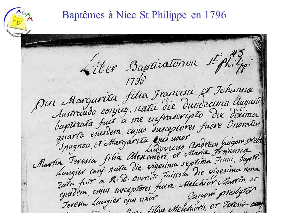 Baptêmes à Nice St Philippe en 1796