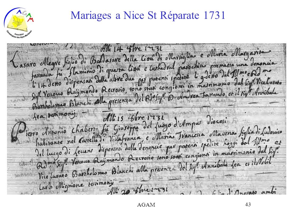 Mariages a Nice St Réparate 1731