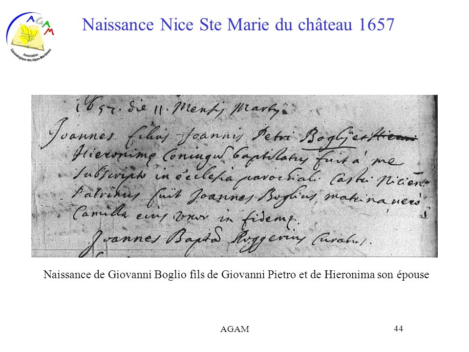 Naissance Nice Ste Marie du château 1657