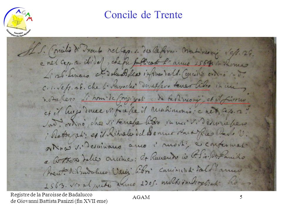 Concile de Trente Registre de la Paroisse de Badalucco de Giovanni Battista Panizzi (fin XVII eme) AGAM.