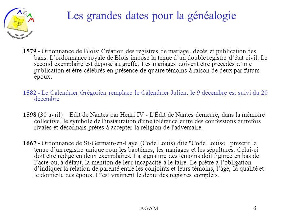 Les grandes dates pour la généalogie