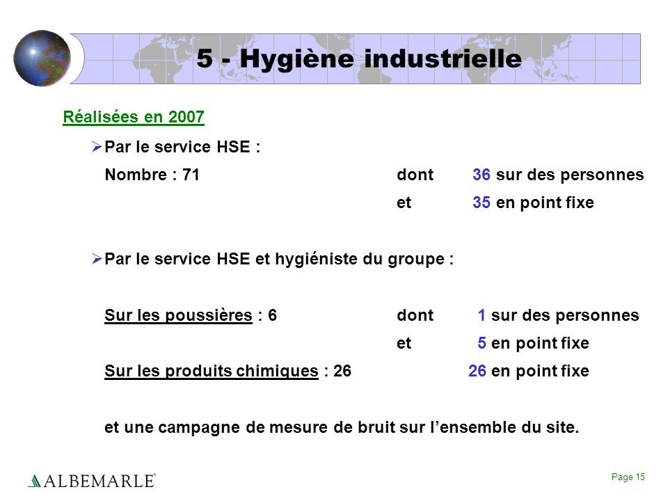 5 - Hygiène industrielle