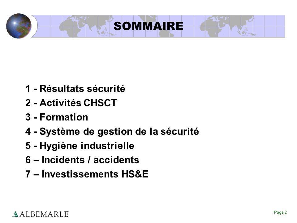 SOMMAIRE 1 - Résultats sécurité 2 - Activités CHSCT 3 - Formation