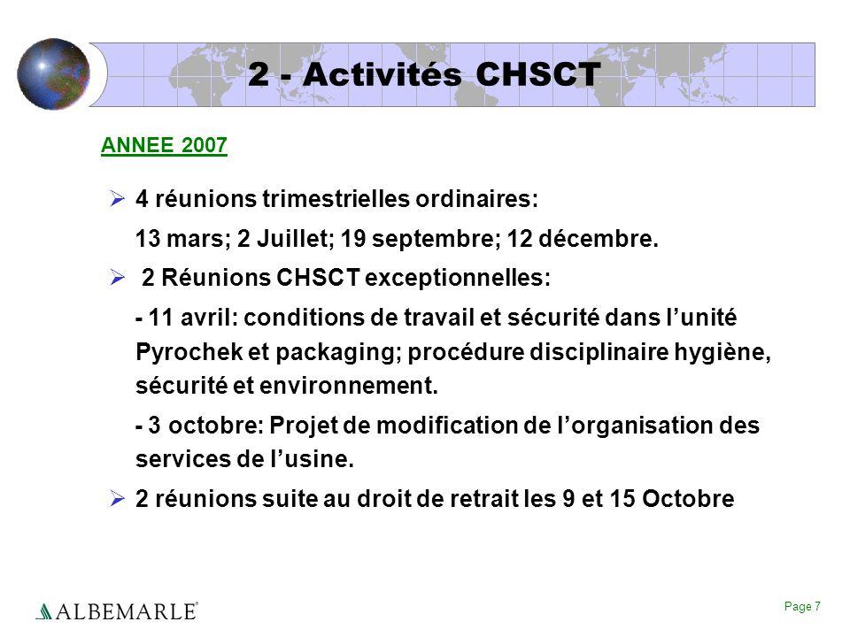 2 - Activités CHSCT 4 réunions trimestrielles ordinaires: