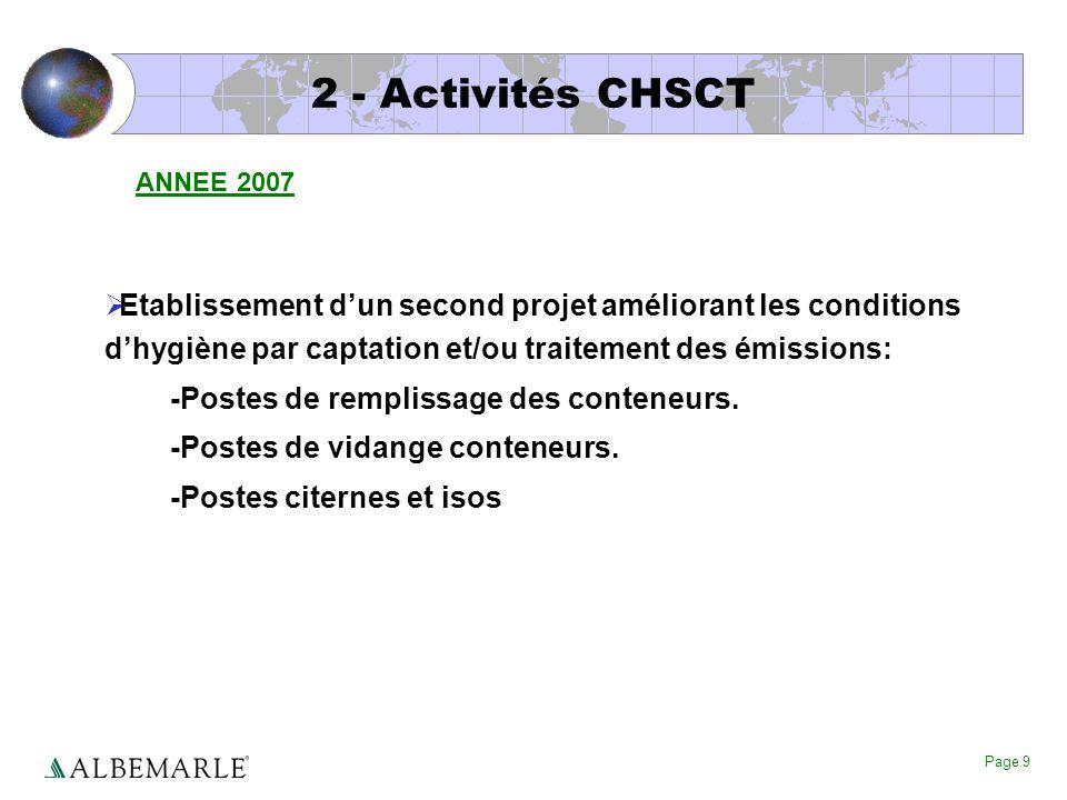 2 - Activités CHSCT ANNEE 2007. Etablissement d'un second projet améliorant les conditions d'hygiène par captation et/ou traitement des émissions: