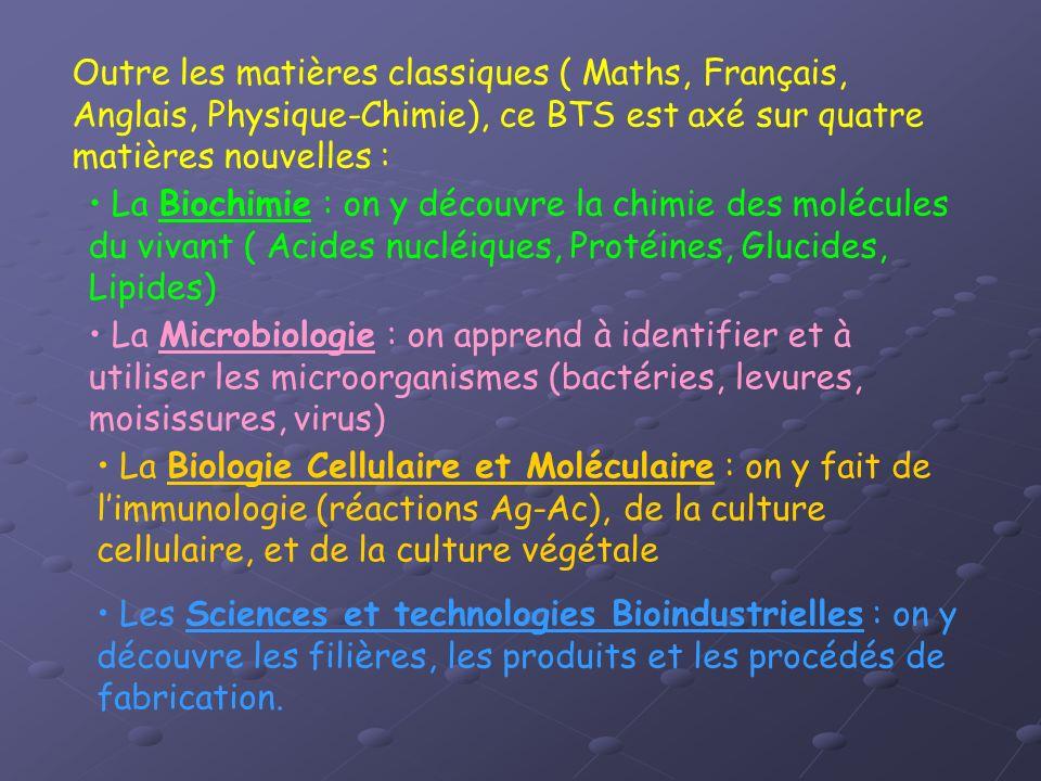 Outre les matières classiques ( Maths, Français, Anglais, Physique-Chimie), ce BTS est axé sur quatre matières nouvelles :