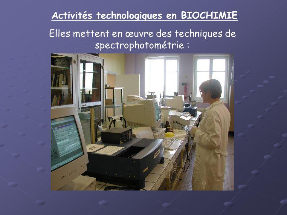 Activités technologiques en BIOCHIMIE