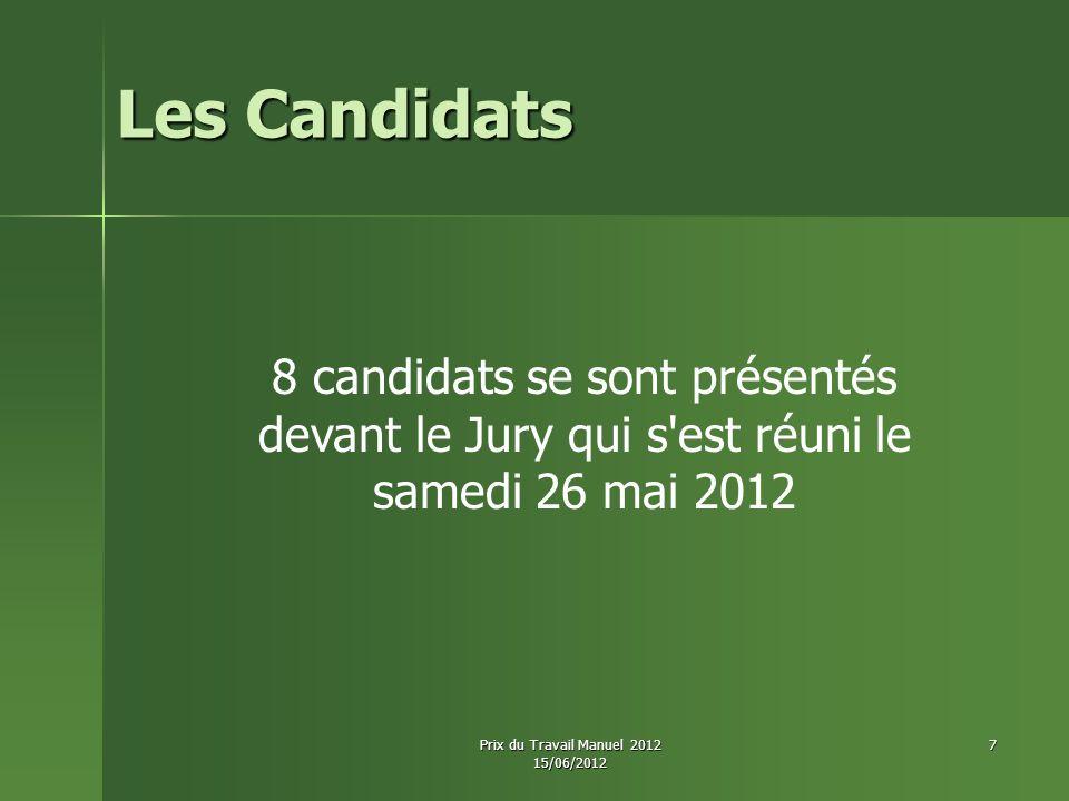 Les Candidats 8 candidats se sont présentés devant le Jury qui s est réuni le samedi 26 mai 2012. Prix du Travail Manuel 2012.