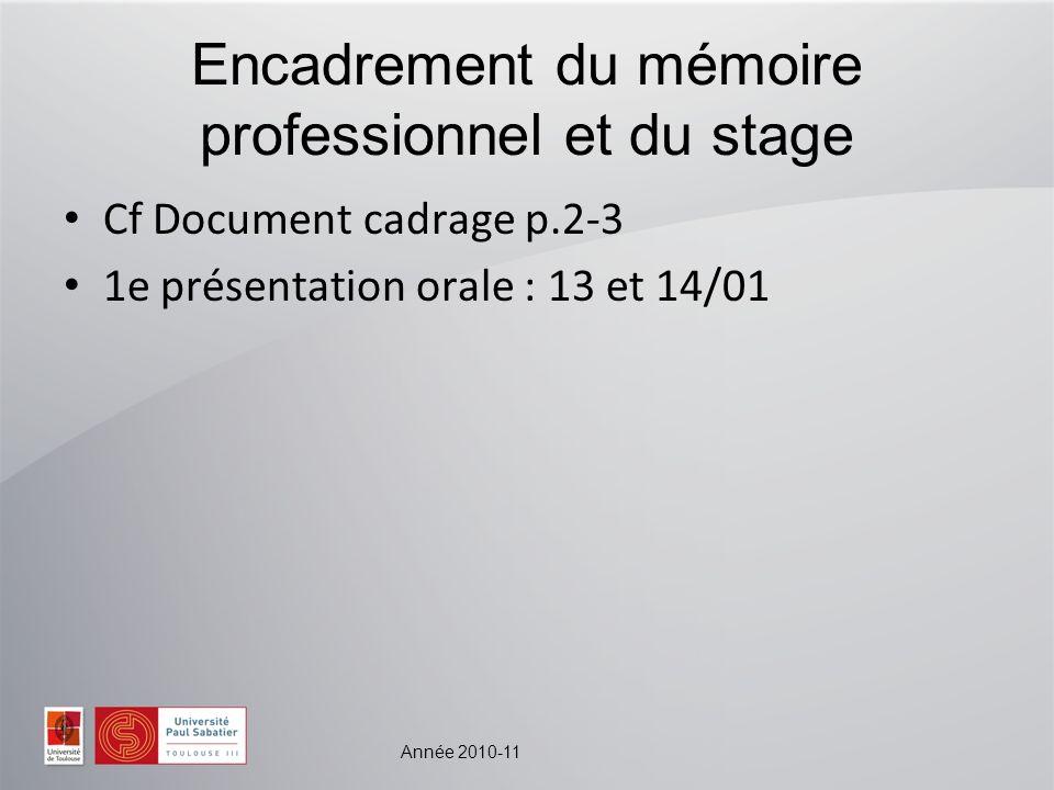 Encadrement du mémoire professionnel et du stage