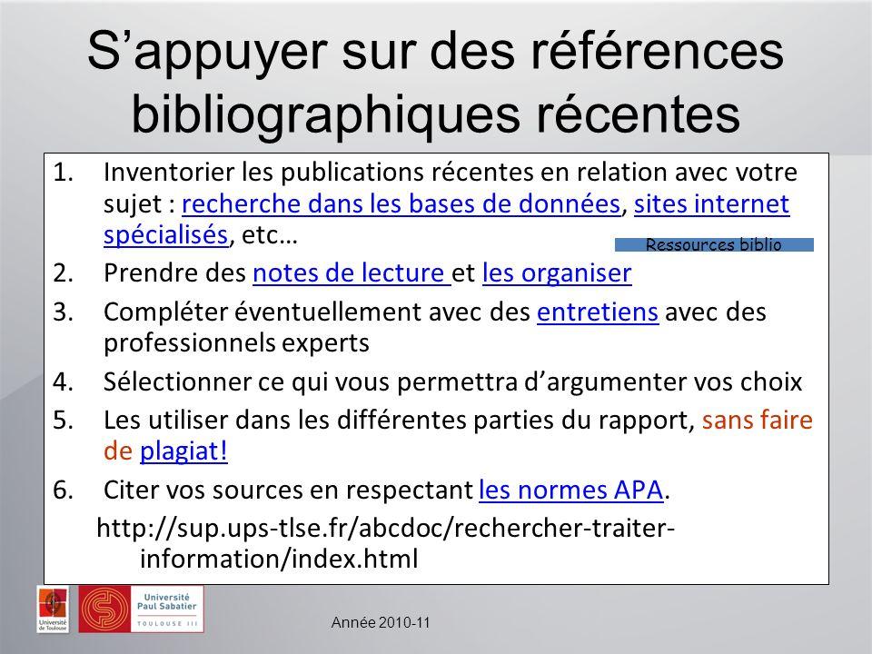 S'appuyer sur des références bibliographiques récentes