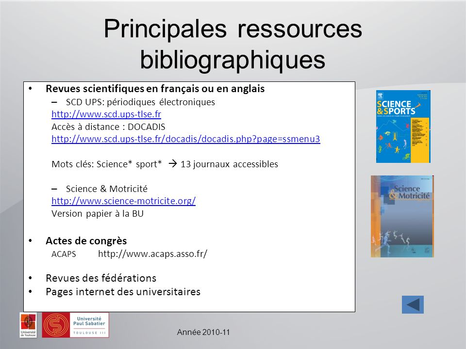 Principales ressources bibliographiques