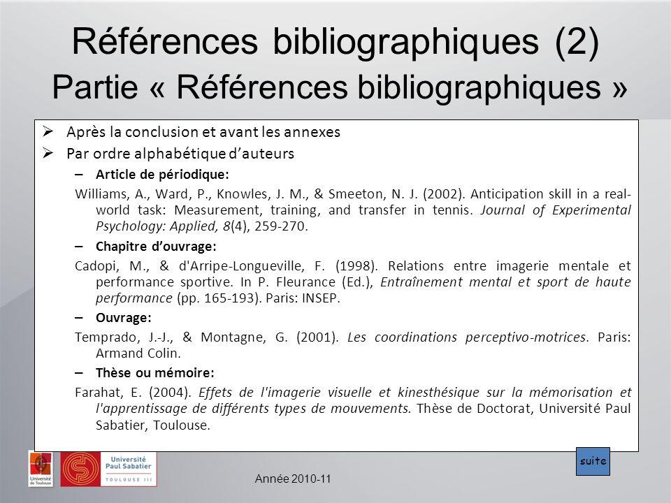 Références bibliographiques (2) Partie « Références bibliographiques »