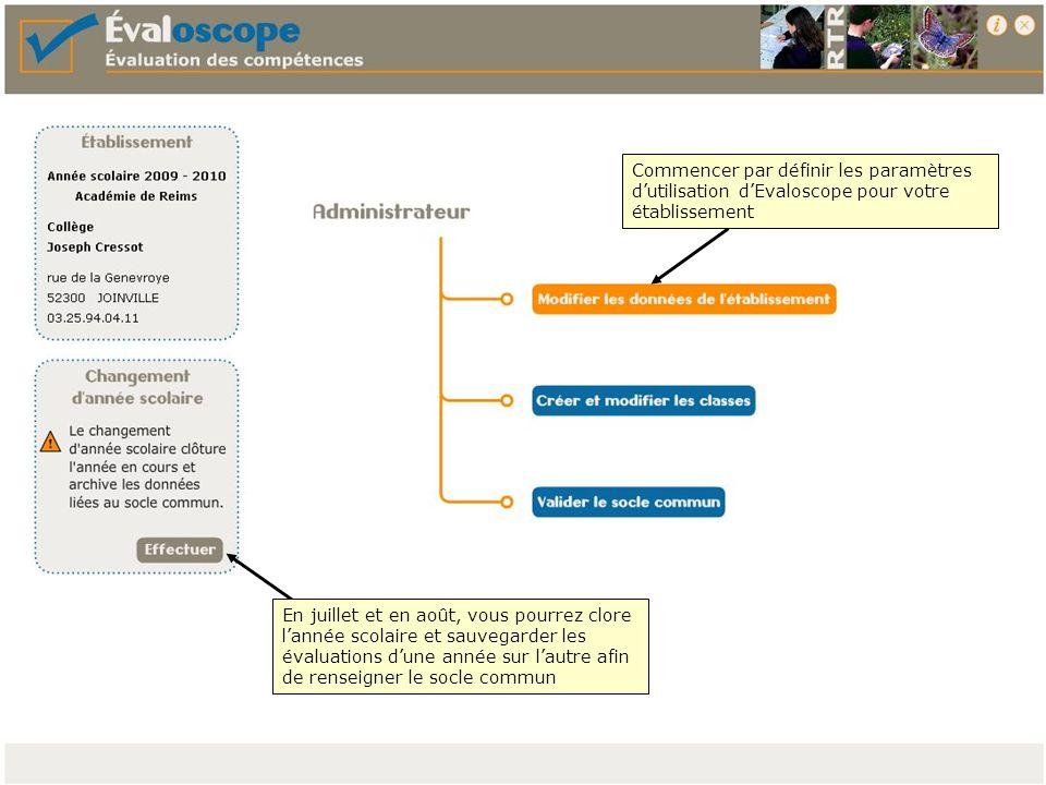 Commencer par définir les paramètres d'utilisation d'Evaloscope pour votre établissement