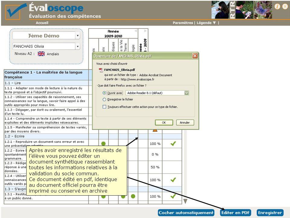 Après avoir enregistré les résultats de l'élève vous pouvez éditer un document synthétique rassemblant toutes les informations relatives à la validation du socle commun.