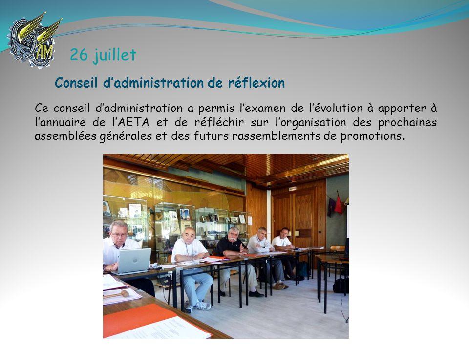 26 juillet Conseil d'administration de réflexion