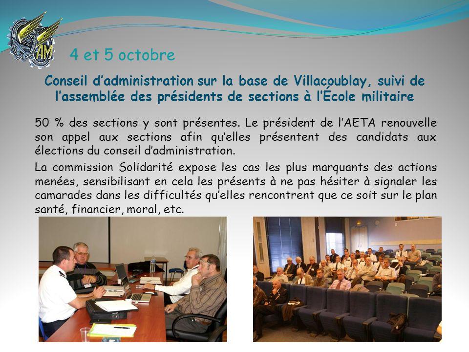 4 et 5 octobre Conseil d'administration sur la base de Villacoublay, suivi de l'assemblée des présidents de sections à l'École militaire.