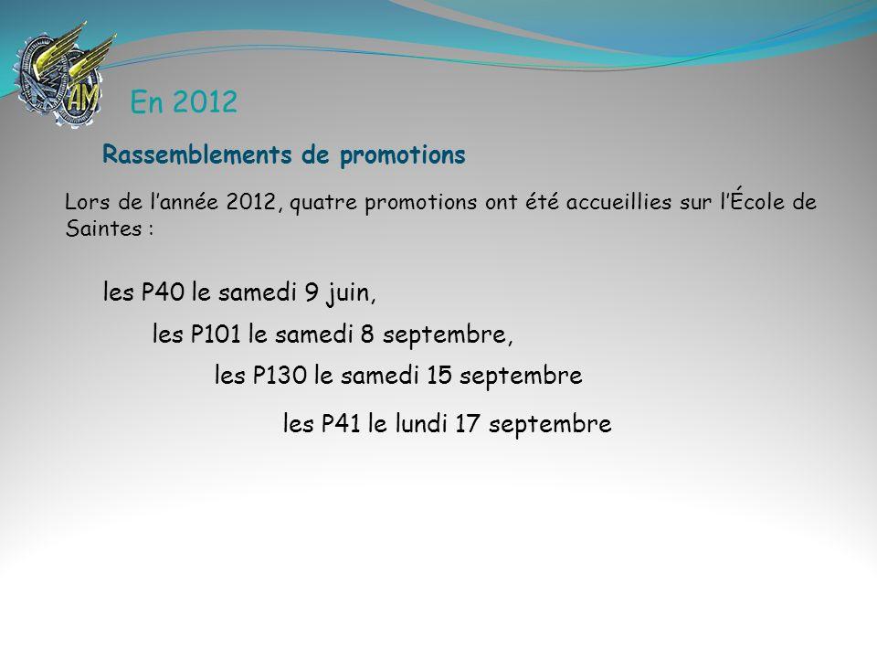 En 2012 Rassemblements de promotions les P40 le samedi 9 juin,