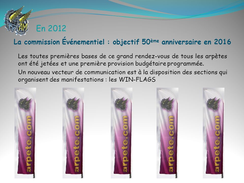 En 2012 La commission Événementiel : objectif 50ème anniversaire en 2016.
