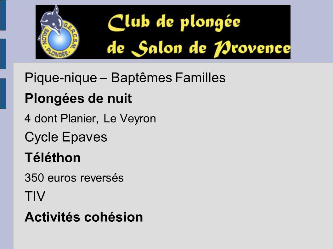 Pique-nique – Baptêmes Familles Plongées de nuit Cycle Epaves Téléthon