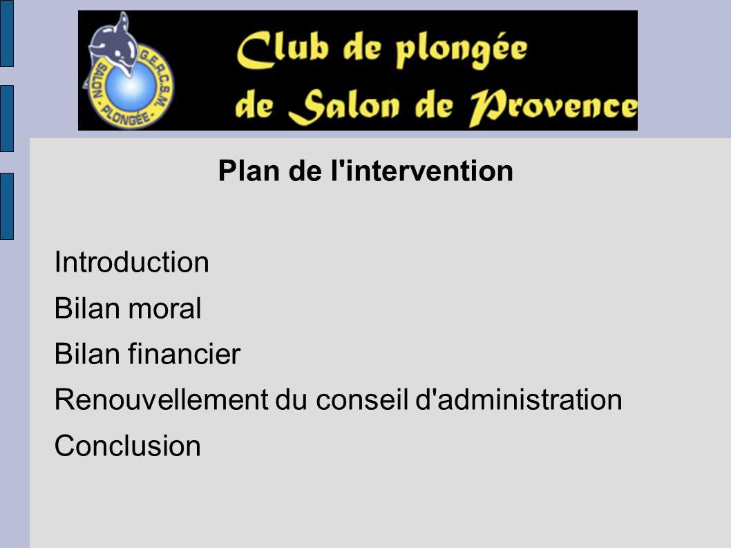 Plan de l intervention Introduction. Bilan moral. Bilan financier. Renouvellement du conseil d administration.