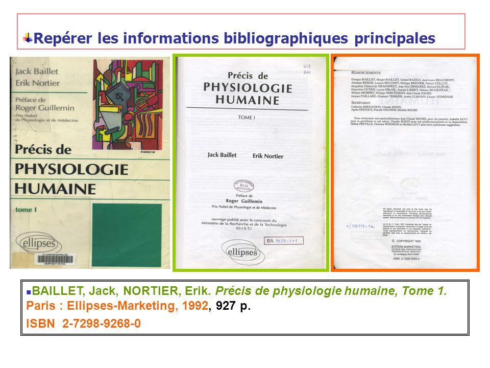 Repérer les informations bibliographiques principales
