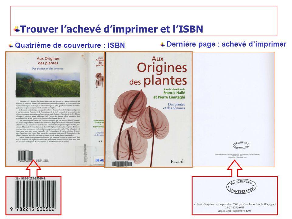 Trouver l'achevé d'imprimer et l'ISBN