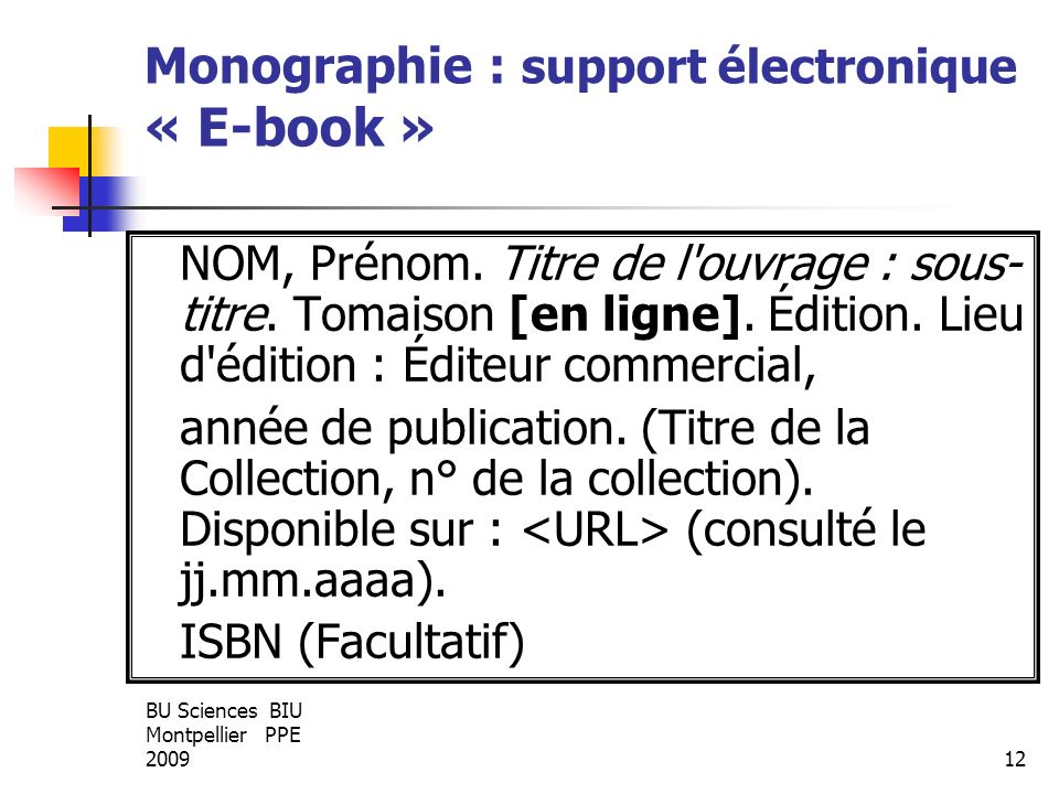 Monographie : support électronique « E-book »